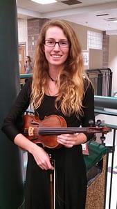 Elizabeth Mae after a Mountain Vista High School Orchestra Concert