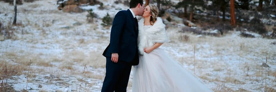 Lauren & Daniel's Della Terra Wedding Video. Bride and Groom stand on the hill right behind the venue